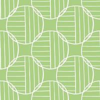 hand getekend wit gekleurde cirkels en lijnen op groen patroon
