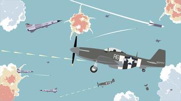 Zweefvliegtuigen in de lucht oorlog gratis vector