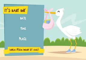 Stork Brengt Een Geschenk Illustratie vector
