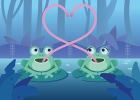 Twee kikkers maken een illustratie van het hartsymbool vector
