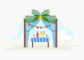 Gratis decoratieve Sukkah vectorillustratie