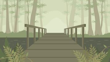 Oude houten brug in de Bayou gratis Vector