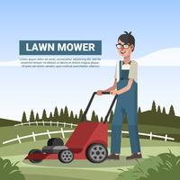 Man met grasmaaier in boerderij vectorillustratie