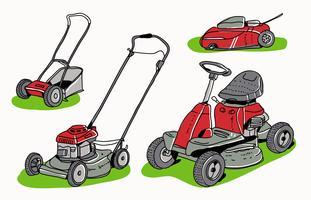 Red Lawn Mower Collection Hand getrokken vectorillustratie