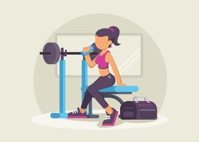 Stijlvolle fitnesstrainer in de sportschool vector