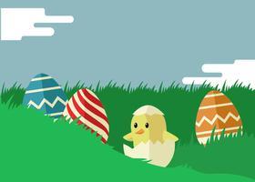 Pasen-illustratie in vlakke kleur