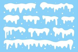 sneeuwmuts collectie. witte sneeuw die in de winter valt vector