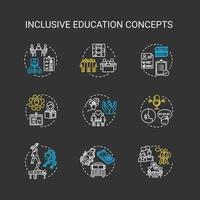 inclusief onderwijs krijt concept pictogrammen instellen. vector