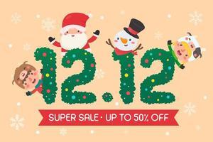 kerst 12.12 verkooppromotie ontwerp vector