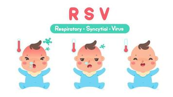 cartoon ziek kind met hoge koorts door een virus vector