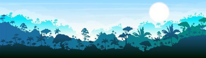 jungle silhouet banner vector