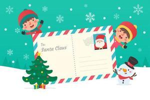 kerstkarakters en letters aan de kerstman