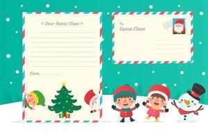 kerstkarakters en letters aan de kerstman vector