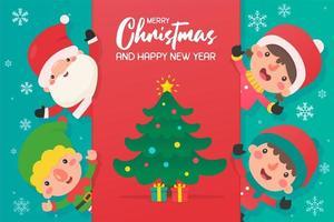 cartoon santa en vrienden met kerstboom vector