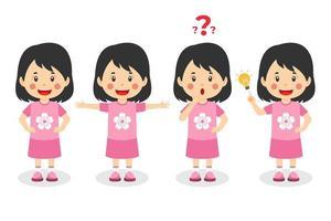 gelukkig schattig kind meisje met verschillende poses