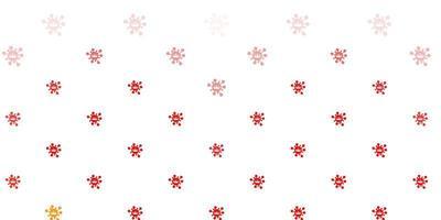 lichtrode achtergrond met virussymbolen.