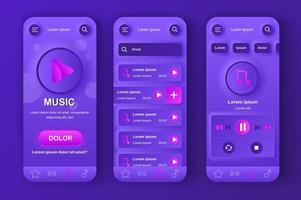 muziekspeler unieke neumorfische ontwerpkit vector