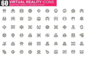 virtuele realiteit dunne lijn pictogramserie