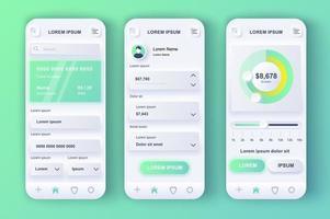 smart banking unieke neumorfische ontwerpkit vector