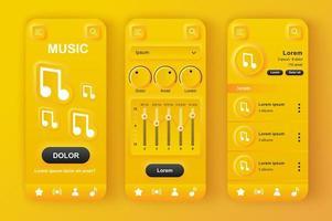muziekspeler unieke neumorfe gele ontwerpset vector