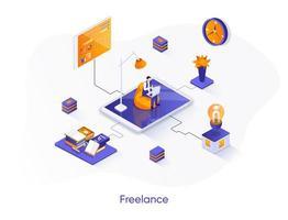 freelance isometrische webbanner.