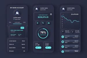 uniek neumorfisch ontwerppakket voor online bankieren vector