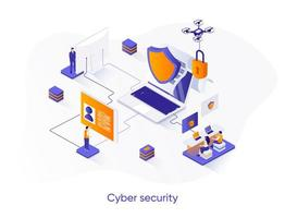 cyberbeveiliging isometrische webbanner.