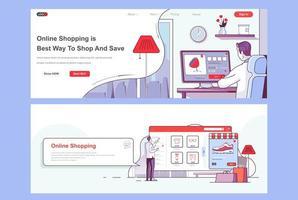 bestemmingspagina's voor online winkelen. vector