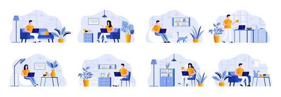 bundel freelancescènes met mensen