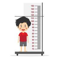 kleine jongen meet hoogte