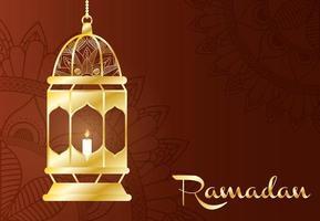ramadan viering banner met gouden lamp