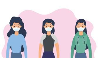 jonge vrouwenkarakters met gezichtsmaskers vector