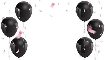 roze confetti en zwarte ballonnen