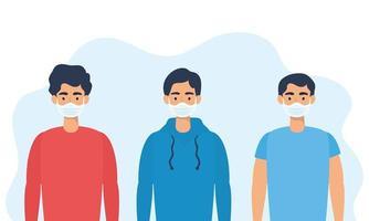 jonge mannen karakters met gezichtsmaskers vector