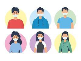 jongerenkarakters met gezichtsmaskers vector
