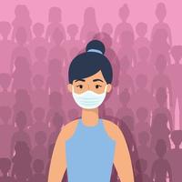 jonge vrouw karakter met een gezichtsmasker vector