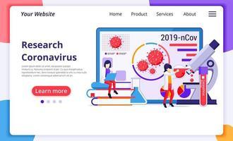 onderzoekslaboratoriumconcept voor covid-19 coronavirus met wetenschappers die werkzaam zijn in het medicijnlaboratorium. moderne platte webpagina-ontwerp voor website en mobiele website-ontwikkeling. vector illustratie