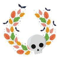 halloween-schedel en vleermuizen met bladerenontwerp vector