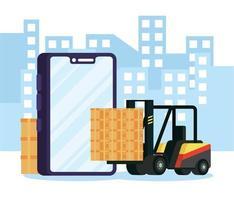 samenstelling van online bezorgservice met heftruck via smartphone