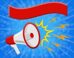 megafoon luidspreker en banner