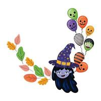 halloween-heksenbeeldverhaal met bladeren en ballonsontwerp