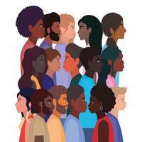 diversiteitshuiden van zwarte vrouwen en mannencartoons vector