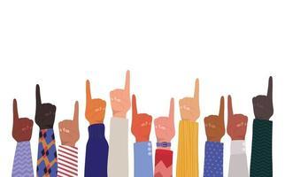 handen met nummer één teken vector