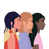 vrouwencartoons in zijaanzichtontwerp
