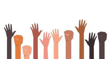 vuist en open handen omhoog