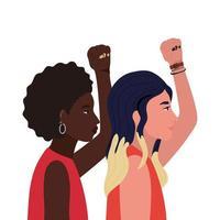 vrouwen cartoons met vuist omhoog