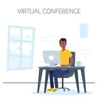man op de computer voor een virtuele telefonische vergadering