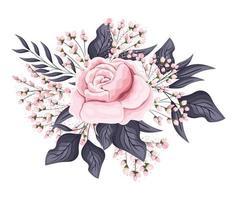 roze roze bloem met toppen en bladeren schilderen vector
