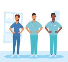 medisch personeel, essentiële werknemerspersonages vector