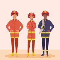 brandweerlieden, essentiële arbeiderspersonages vector